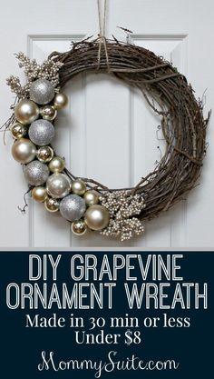 DIY Grapevine Ornament Wreath