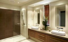 Like this layout for bathroom. Love the frameless open shower screen.