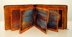 the forbidden colors: Mixed Media Artist Book - An Object Found, by Seth Apter. This is beautiful. The colours, the paper, the marks on the pages. Artist Journal, Book Journal, Photo Journal, Journal Covers, Handmade Journals, Handmade Books, Handmade Rugs, Handmade Crafts, Altered Books