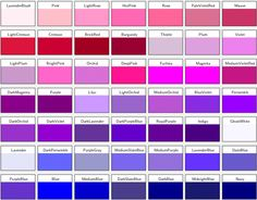 different shades of purple names 20 gallery images for different shades - Shades Of Blue And Their Names