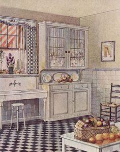 Kitchen Gallery - Kitchen flooring, cabinetry, nooks, and plumbing - Vintage Kitchen Design Inspiration Bungalow Kitchen, Interior Sliding Barn Doors, Kitchen Design Open, Glacier, Brown Kitchens, French Kitchens, Petites Tables, Kitchen Gallery, Look Vintage