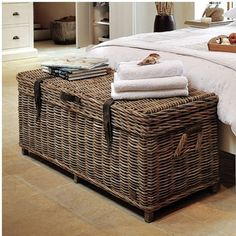 Storage Chest Bedroom Hallway Living Room Wicker Rattan Multipurpose Trunk Box…