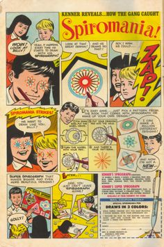 """""""How the Gang Caught Spiromania!"""" Kenner's Spirograph Old Comic Books, Vintage Comic Books, Vintage Comics, Gi Joe, Vintage Advertisements, Vintage Ads, Retro Ads, Vintage Posters, Spirograph"""