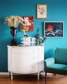 Inspiration from the archives: Eddie Ross & Jaithan Kochar's festive sideboard, stocked with champagne