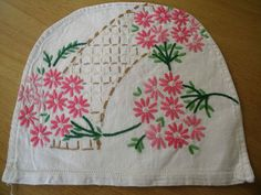 vintage hand embroidered floral tea cosy
