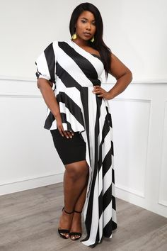 b9c56385ab3 Candy Queen Plus Size Striped One-Shoulder Blouse Tops+ GS-LOVE