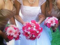 Brides and bridesmaids bouquets pink {by Kristin H}