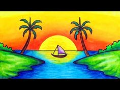 How to draw easy and simple scenery for beginner with oil pastels. Drawing a scenery of sunset over the sea step by step. How to draw easy scenery. Scenery Paintings, Oil Pastel Paintings, Oil Pastel Art, Scenery Drawing For Kids, Easy Drawings For Kids, Landscape Drawing Easy, Nature Drawing, Oil Pastel Drawings Easy, Colorful Drawings