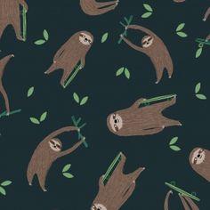 Dear Stella Wild and Free Flannel Sloths Midnight – Drygoods Design