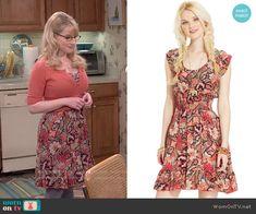 Bernadette's orange paisley print dress on The Big Bang Theory.  Outfit Details: http://wornontv.net/53640/ #TheBigBangTheory