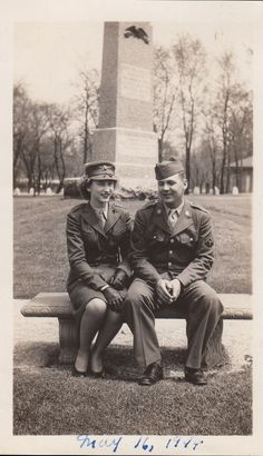 World War Two photo of a Woman Marine and Army Technician taken on May 16th, 1944, at the Civil War monument, Washington Park, Michigan City, LaPorte County, Indiana.