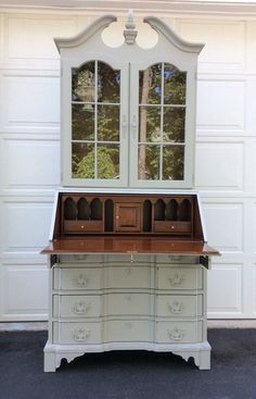Secretary Desk French Country Display Cabinet by greywillowllc