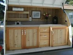 Teardrop Trailer Galley......but I want the pin to do something like this out back on a wall
