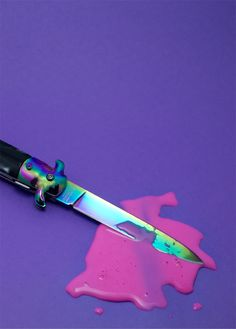 candy's colorfull knife..  candie:whoosp i stab a alien!