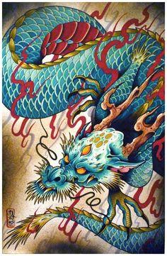 Tattoo Dragon Chinese Beautiful Ideas For 2019 Japanese Tattoo Designs, Japanese Tattoo Art, Japanese Art, Dragon Tattoo Colour, Dragon Tattoo Designs, Blue Dragon Tattoo, Tatoo Art, Body Art Tattoos, Sleeve Tattoos