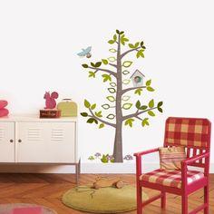 Wandtattoo Messlatte Baum mit Vögeln