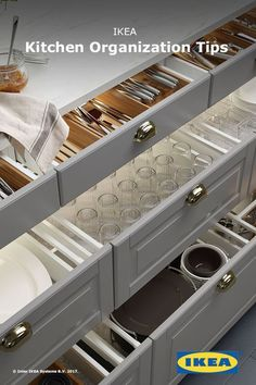Note: Kitchen interior organizers can help turn even the messiest of drawers into organized and efficient storage. From waste sorting to cookware organizing, IKEA kitchen interior organizers will make your everyday cooking routine easier. Easy Kitchen Updates, Updated Kitchen, Ikea Kitchen Interior, Apartment Kitchen, Cocina Diy, Kitchen Cabinet Organization, Organization Ideas, Storage Ideas, Bathroom Storage