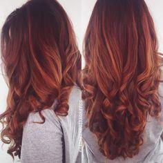 Resultado de imagen para fire red hair with blonde highlights en morenas