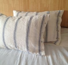Pari of Pre stone washed 100% Natural Linen white and by menuet