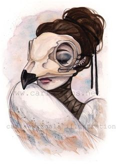 Glossy archival full color art print of a watercolor painting by Carla Wyzgala of the skull mask of a wise barn owl worn by a somber lady in