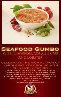 Celebrate the rich flavor of Mardi Gras year round with Fortun Foods'Seafood Gumbo! Heat and serve over rice and have a taste of the Big Easy right from your own kitchen, without the time and effort! #fortunfoods #soup #seafoodgumbo #seafood #gumbo #mardigras #food #cooking #crab #shrimp #crawfish #lobster #delicious #dinner #lunch