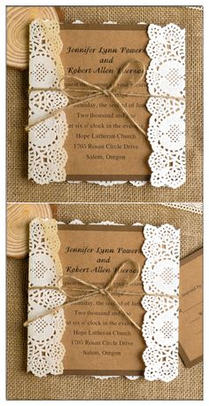 country themed lace and burlap rustic wedding invitations EWLS009
