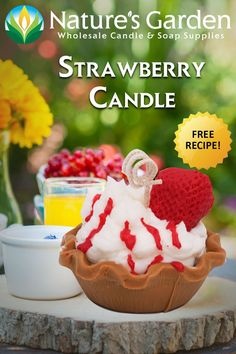 This Strawberry candle is made with our Strawberry French Toast Fragrance Oil and smells AMAZING!