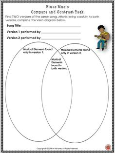 THE BLUES!! Compare and contrast music listening sheet! #musiceducation #musedchat