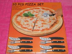 10 Piece Pizza Set  Wooden Cutting Board Pizza Cutter 4 Knives 4 Forks