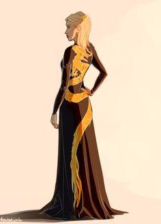Aelin Ashryver Galathynius is her gorgeous dress [gorgeous art by taratjah]