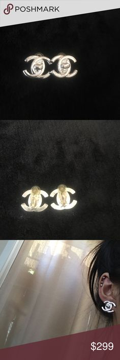 Chanel Vintage Turn lock CC Earring Authentic beautiful vintage silver  CC Turn Lock Clip Earrings. I bought this earring from Waikiki Chanel Boutique about 20 years ago and kept it really clean, just a little color change on the pad of the clip on. CHANEL Jewelry Earrings