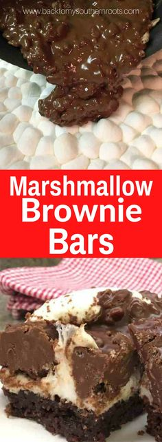 Marshmallow Brownie Bars are a delicious dessert. The combination of chocolate, marshmallow, crispy rice cereal, and brownies are perfect for parties. Marshmallow Brownie Bars are a great recipe for any occasion. note to self: add pecans