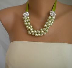 bridesmaids neckrlaces-I could make something like this but with pink ribbon.
