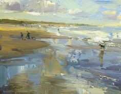 """Daily Paintworks - """"A Summerish Autumn Day – Zeegezicht"""" - Original Fine Art for Sale - © Roos Schuring Seascape Paintings, Landscape Paintings, Oil Paintings, Beach Paintings, Painting Abstract, Beautiful Paintings, Contemporary Landscape, Abstract Landscape, Contemporary Artists"""