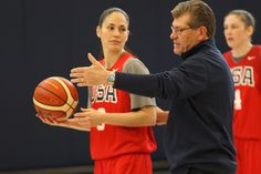United States women's national basketball team head coach Geno Auriemma coaches former UConn star Sue Bird during a training session at the Werth Family UConn Basketball Champions Center in Storrs, Connecticut on Monday, Feb. 22, 2016. (Ian Bethune/The UConn Blog)