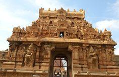 The beautifully carved entrance tower of the Brihadeshwara Temple at Tanjavur in Tamilnadu.