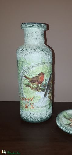 Édes otthon madaras, virágos sötétben fluoreszkáló üveg váza (Biborvarazs) - Meska.hu