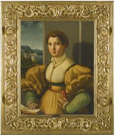 Ezechia da Vezzano, called Paolo Zacchia il Vecchio VEZZANO 1490 - 1561 LUCCA (?) PORTRAIT OF A LADY, HALF-LENGTH, IN A YELLOW DRESS WITH GREEN SLEEVES AND A GOLD CHAIN, RESTING HER HAND ON A BOOK IN AN INTERIOR, A RIVER LANDSCAPE BEYOND