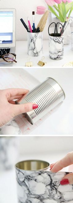 If youre looking for a quick DIY that is fail-proof, easy to make and doesnt take up much time, then this diy project is just for you! Its the perfect way to recycle and reuse cans that you have around and improve your room decor. Just a few added touches can make a load of difference. #reducereuserecycling