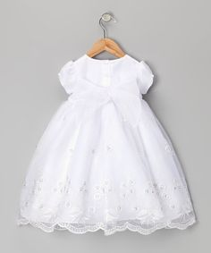 Gorg Christening gown! White Embroidered Floral Dress & Bonnet - Infant & Toddler by Lida