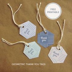 Thank You Gift Tags {Free Printable} お洒落Thank you 「ありがとう」タグ 無料テンプレート