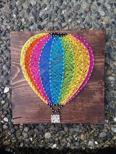 MADE TO ORDER- Hot Air Ballooon String Art- Rainbow Colors