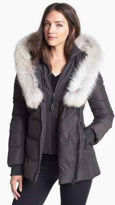 Mackage Gray Adali Genuine Coyote Fur Trim Down Coat