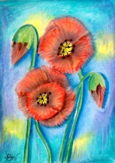 "Aceo  Original  ATC OOAK    ""POPPIES 2""   pencil/ink  #OutsiderArt"