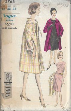 1950s Vintage VOGUE Sewing Pattern B32 COAT & DRESS