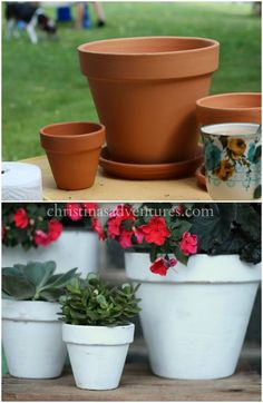 Painting terra cotta pots - tips to get a perfectly distressed finish in just minutes #sponsored