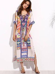 4087b75ced1 Tulum Mayan Princess Lace-Up Kaftan Tunic Cover Up Dress