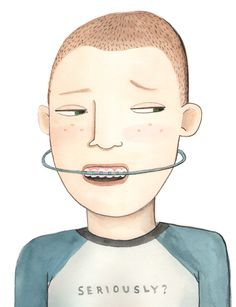 """Orthodonture."" a watercolor illustration by Violet Lemay. violetlemay.com"