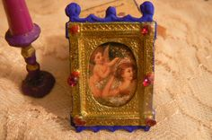 Handmade Miniature Painting of Angels for Dollhouses or Dioramas by magickmoonminiatures on Etsy