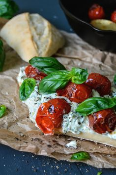 Summer Sandwich with Balsamic Tomatoes & Whipped Basil Chèvre ° eat in my kitchen